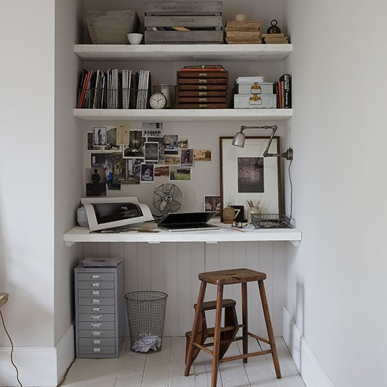 Alcove Home Office With Built in Shelves Shelving Ideas