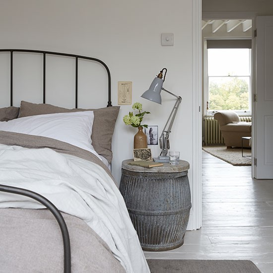 Tonal grey bedroom with barrel table | Make a statement with bedroom furniture | Bedroom | PHOTO GALLERY | Livingetc | Housetohome.co.uk