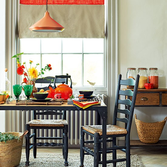 Neutral Dining Room With Orange Accents Decorating