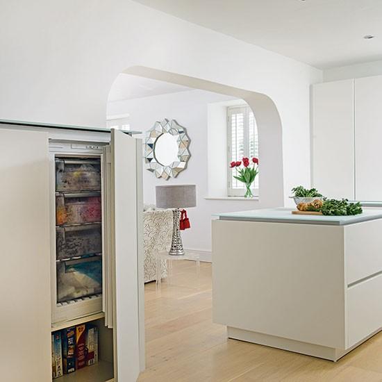 White Modern Kitchen With Oak Flooring