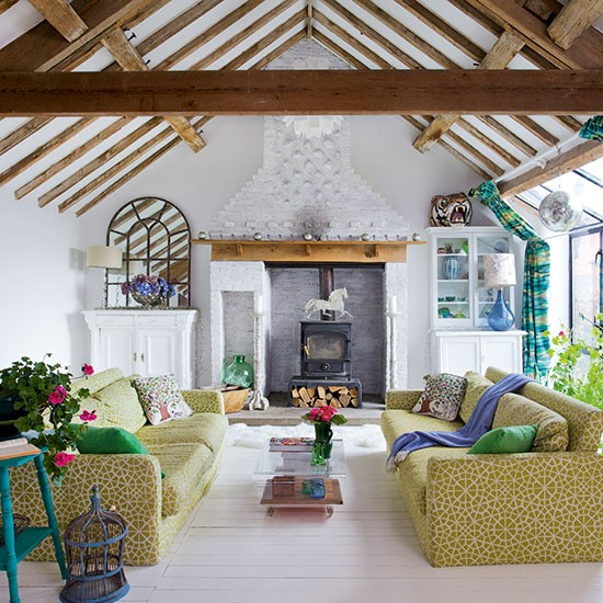 Eclectic Living Room With Beams Open Plan Living Room