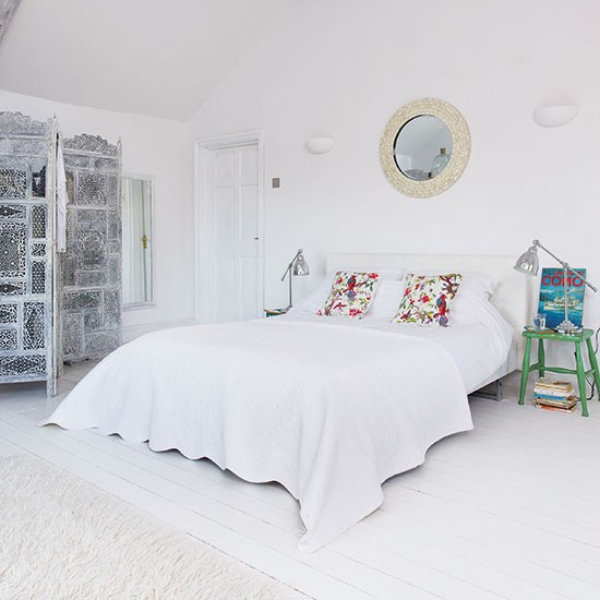 White mediterranean inspired bedroom for Bedroom designs uk