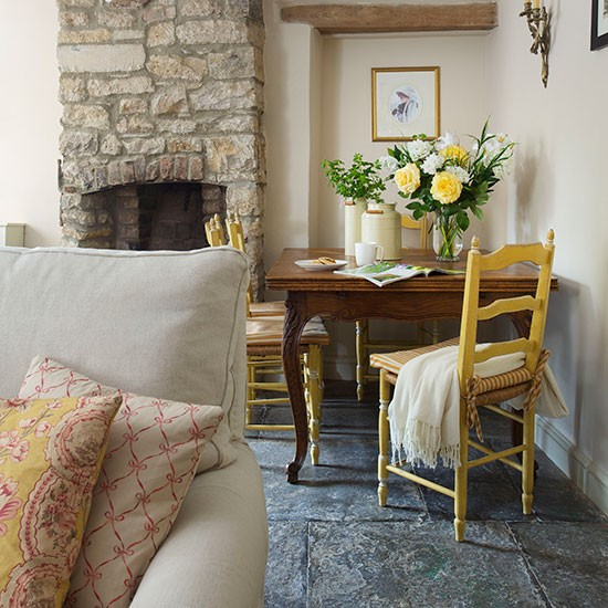 Rustic Country Living Room With Stone Fireplace