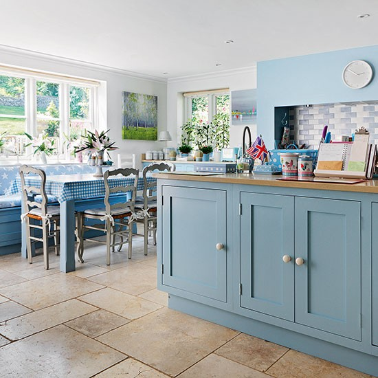 farmhouse kitchen with blue cabinetry decorating