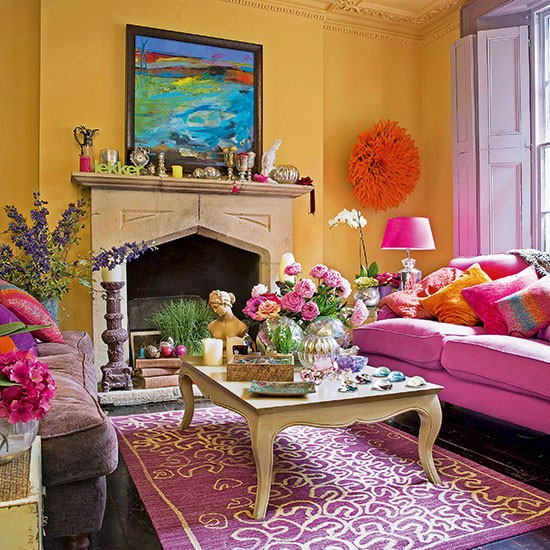 Bright yellow and pink living room decorating - Red and yellow living room decorating ideas ...