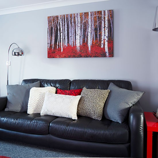 Modern grey and red living room decorating - Black red and grey living room ...