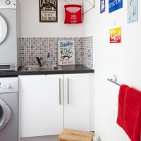White and red utility room