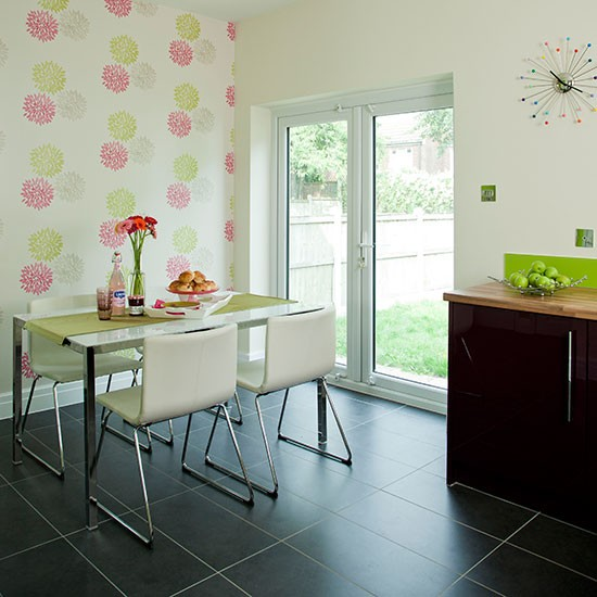 Green Kitchen Diner: Apple Green And White Dining Room