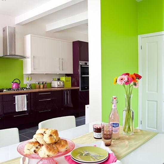 Apple green white and aubergine kitchen diner decorating