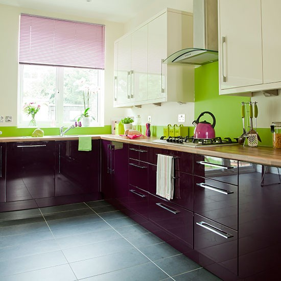 Aubergine And Cream Kitchen Decorating