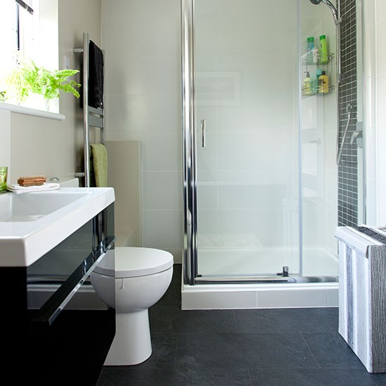 White And Grey Tiled Bathroom Decorating