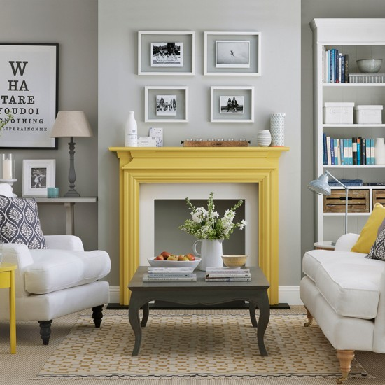Grey Living Room With Yellow Fireplace Easy Living Room