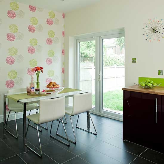 Slate diner with floral wallpaper  Modern dining room design ideas