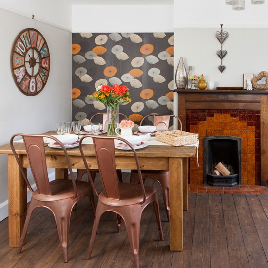 Vintage style dining room with feature wallpaper modern for Dining room wallpaper ideas uk