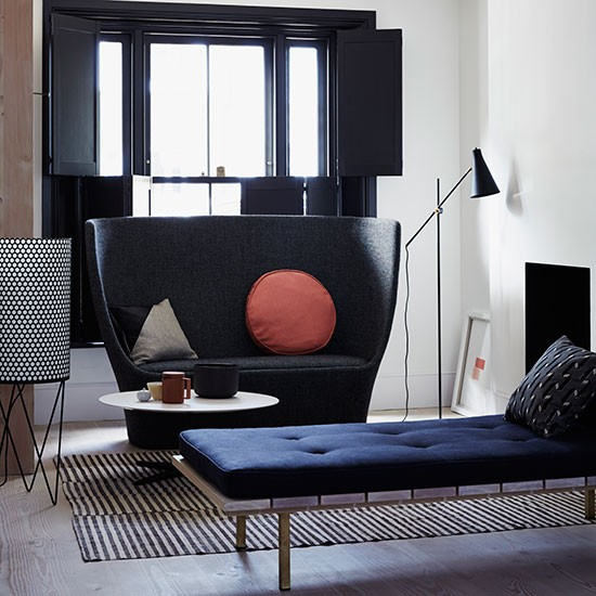 charcoal and navy blue living room decorating