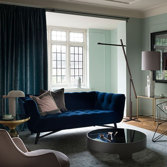 Pale Green And Blue Velvet Living Room Decorating