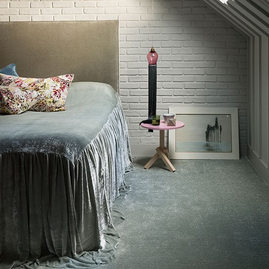Bedroom With Fine Velvet Bedspread Decorating