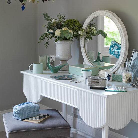 Pale Grey Bedroom With White Dressing Table Decorating