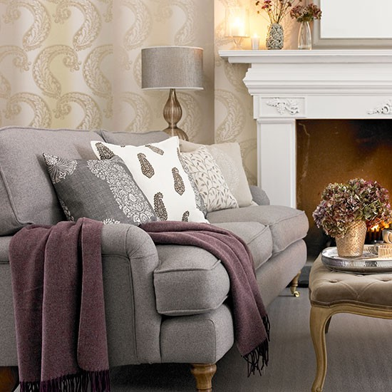 Tonal Grey Paisley Living Room Decorating Housetohome