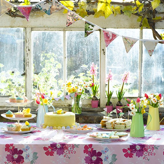 Easter Buffet Spread With Floral Tablecloth Table