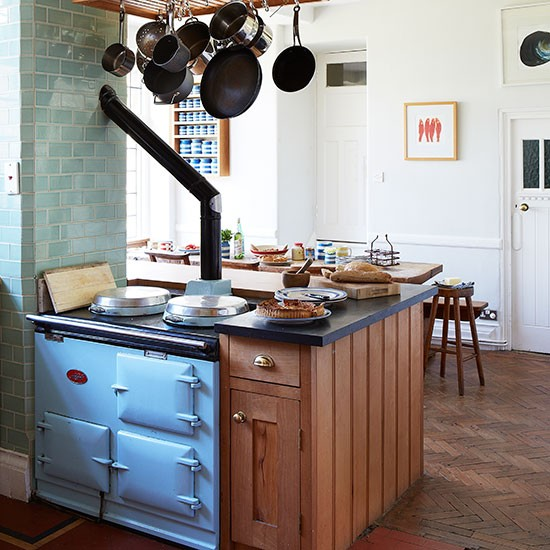 Kitchen With Blue Aga And Parquet Floor