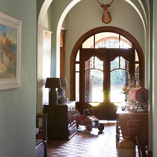 New Home Interior Design Country Hallway: Arched Sage Green Hallway