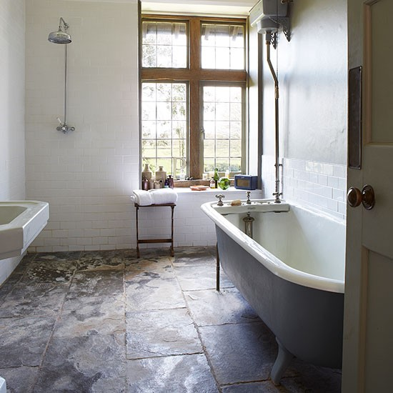Country bathroom with slate floor decorating for Shower room floor tiles