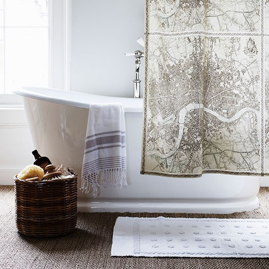 Plain Bathroom With Scenic Shower Curtain Family Bathroom Design Ideas Decorating