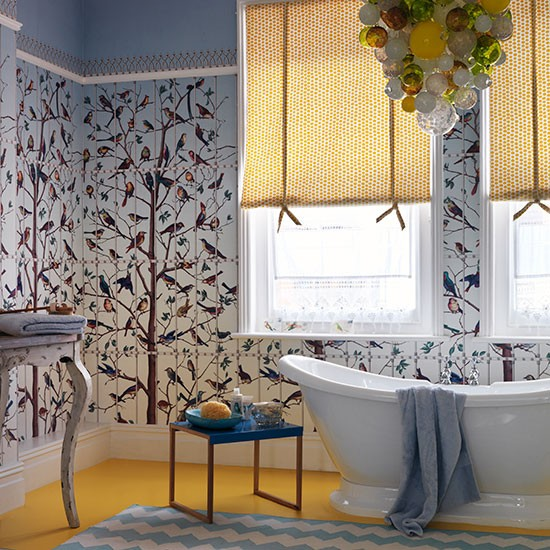Family Bathroom Decorated With Statement Wallpaper