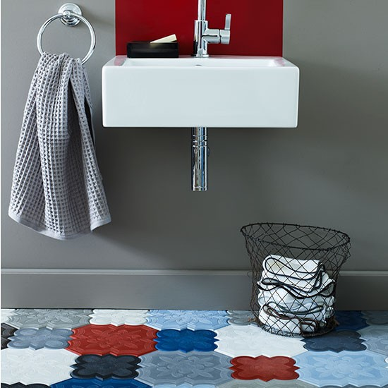 family bathroom with mix and match tiles family bathroom