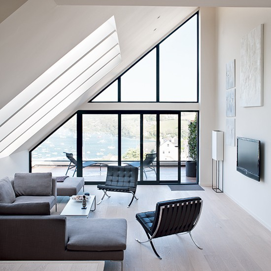 Seating area with estuary view | Minimalist Devon home | House tour | PHOTO GALLERY | Homes & Gardens | Housetohome.co.uk