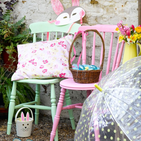 Colourful chairs and easter baskets easter decorating - Easter basket decorating ideas ...