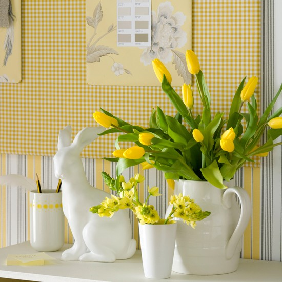 Sunny Yellow Easter Hallway Display Easter Decorating Ideas Easter