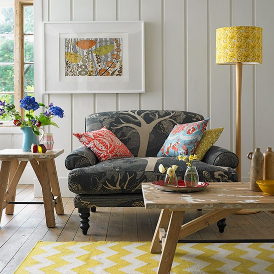 Old wood dining room chairs - Panelled Country Living Room With Navy Sofa Living Room Decorating
