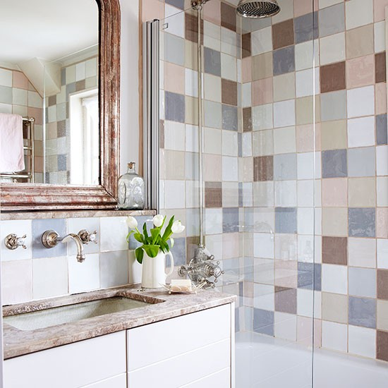 Country bathroom shower ideas - Country Bathroom With Pastel Tiles Bathroom Decorating Country