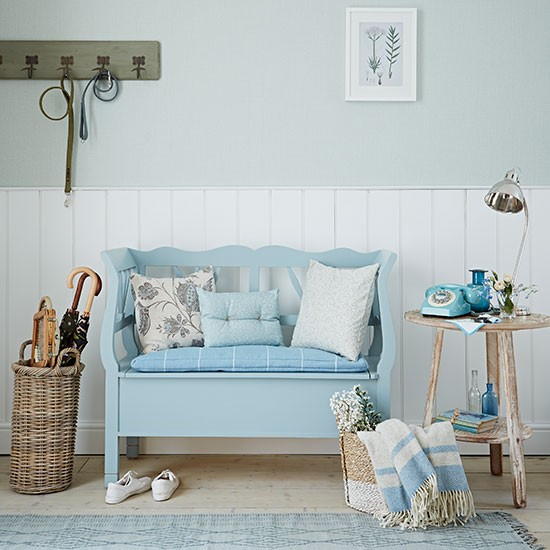 pale blue and white panelled hallway decorating
