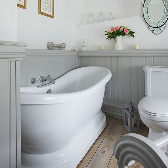 grey panelled and white bathroom 25 beautiful homes