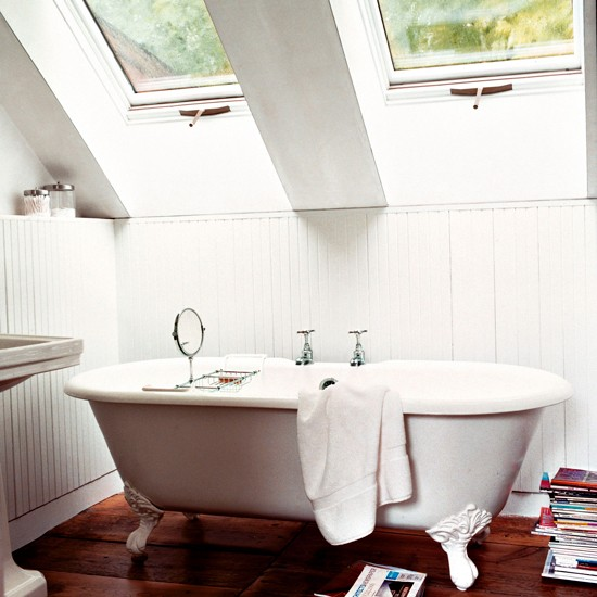 Loft bathroom space with freestanding bath small space for Barn conversion bathroom ideas