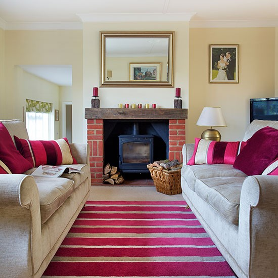 Traditional Living Room With Pink Accents Decorating