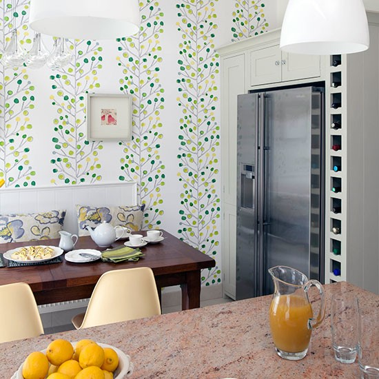 Kitchen diner With Green Wallpaper Decorating