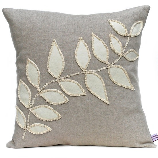 Linen Cushion With Cream Leaf Design From Nutmeg And Sage