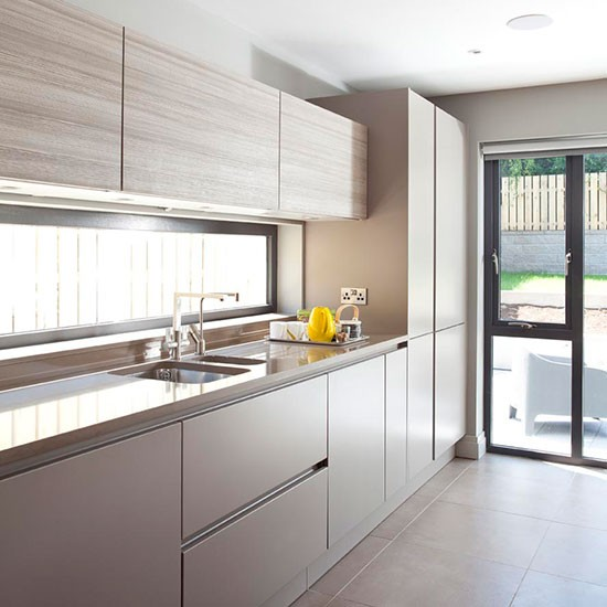 Grey Kitchen Floor Tiles Uk: Larch Finish Kitchen With Porcelain Floor Tiles