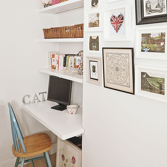 White alcove home office | Home office decorating | Ideal Home