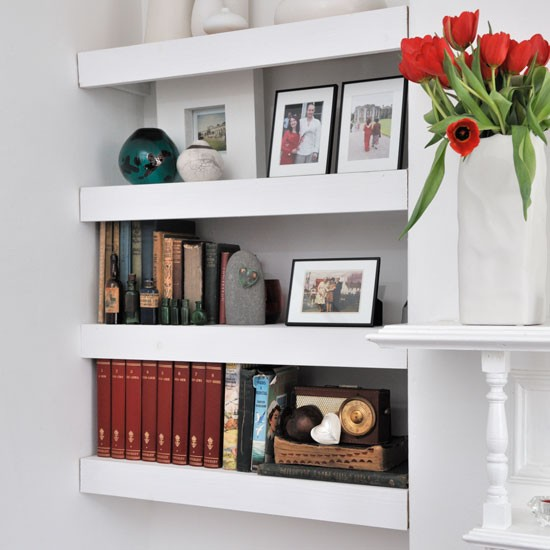 Floating shelves in living room alcove | Living room ...