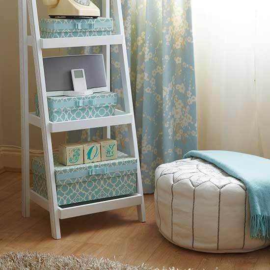 Duck Egg Blue Bedroom Decorating Ideas Ideas On Bedroom Decorating Bedroom With Loft Bed Ladies Bedroom Design Ideas: Ladder Shelves With Box Storage