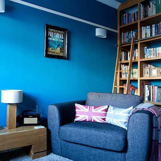 library style shelving in blue living room living room storage ideas. Black Bedroom Furniture Sets. Home Design Ideas