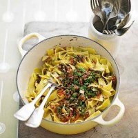 Chervil tagliatelle with sauce vierge