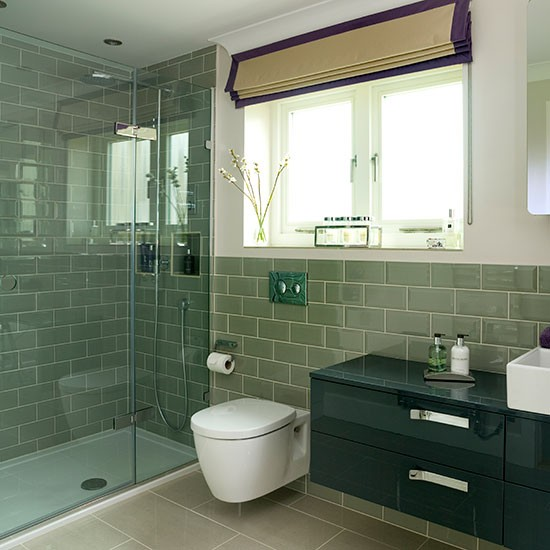 sage green tiled bathroom decorating