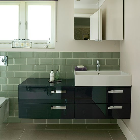 Sage Green Bathroom With Sleek Vanity Unit Decorating