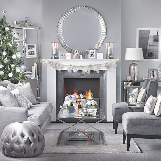 silver and grey christmas living room decorating